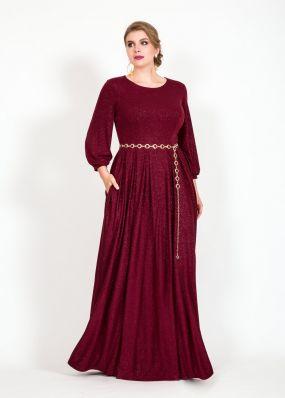Блестящее платье с поясом RB055B