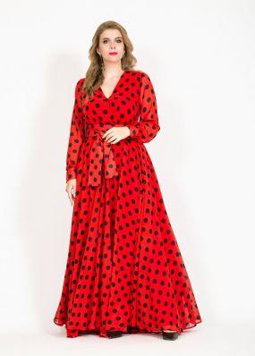 Шифоновое платье в горох MN034B