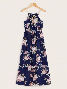 Модное платье на бретельках с цветочным принтом