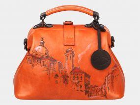 Женская кожаная сумка-саквояж