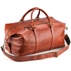 Кожаная дорожно-спортивная сумка Англия (рыжий антик)