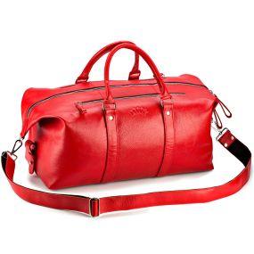 Кожаная дорожно-спортивная сумка Англия (красная)