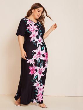 Платье с цветочным принтом, разрезом и V-образным вырезом разреза плюс
