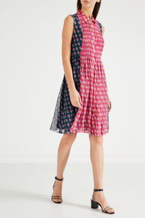 Двухцветное платье из шелка