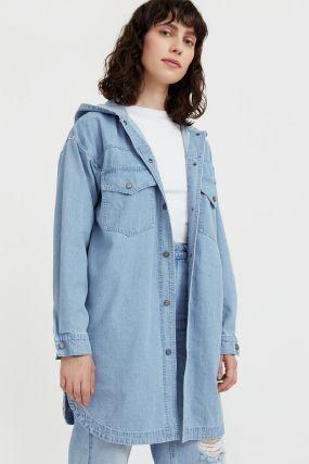 джинсовая куртка-рубашка с капюшоном