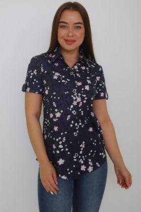 Рубашка трикотажная Анжела (темно-синяя)