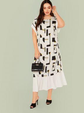 Платье размера плюс с оригинальным рукавом и геометрическим принтом