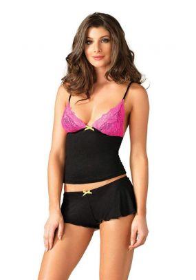 Эротический комплект для сна Leg Avenue Lace & Jersey Cami & Shorts - S