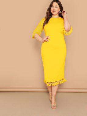 Однотонное платье-карандаш размера плюс с бахромой