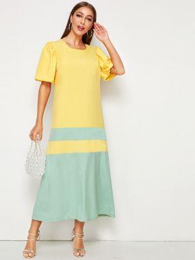 Контрастное длинное платье с пышными рукавами