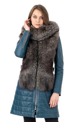 Женское кожаное пальто из натуральной кожи с капюшоном, отделка блюфрост