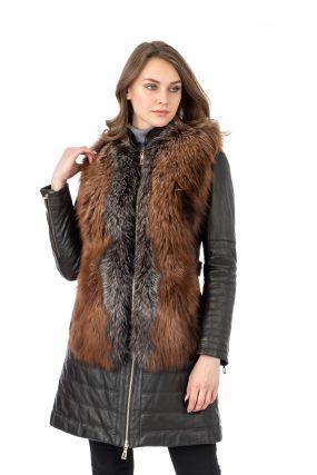 Женское кожаное пальто из натуральной кожи с воротником, отделка лиса