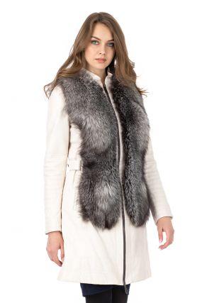 Женское кожаное пальто из натуральной кожи с воротником, отделка блюфрост