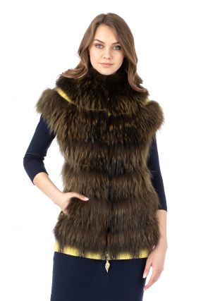 Женская кожаная жилетка из натуральной кожи с воротником, отделка енот