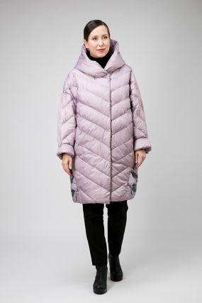 Модное пальто кокон без меха с капюшоном