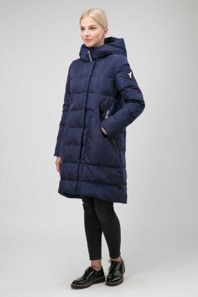 Женское приталенное пальто с капюшоном без меха