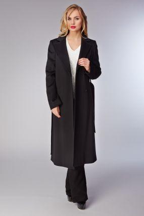 Длинное женское пальто с английским воротником