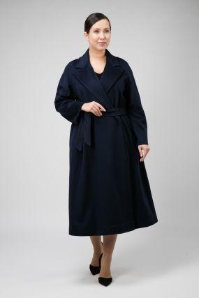 Классическое пальто на запахе с английским воротником для большого размера