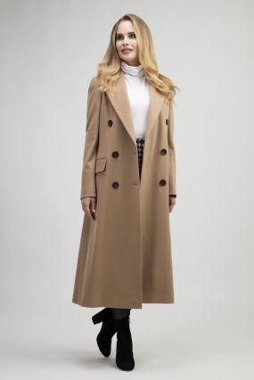 Осеннее женское двубортное пальто полуприталенного кроя