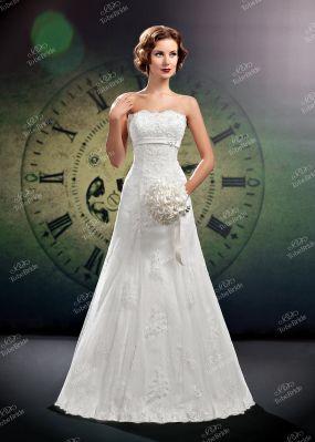 Свадебное платье а-силуэта без бретелей C0144