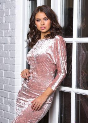 Облегающее бархатное платье ниже колена MT008B