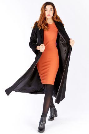 Длинное женское пальто трапеция на большой рост из шерсти