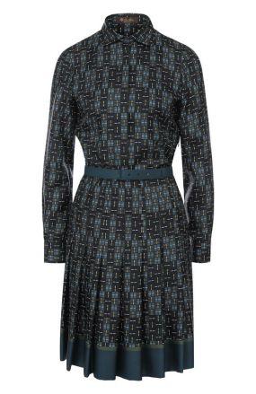 Шелковое платье-рубашка с принтом и поясом Loro Piana