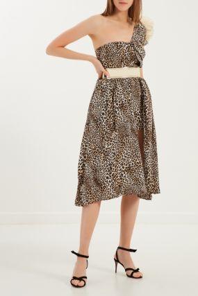 Асимметричное платье с леопардовым принтом