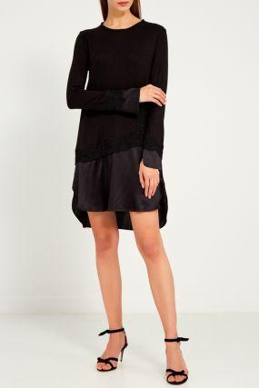 Комбинированное платье с ажурной отделкой