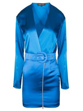Шелковое платье-мини с поясом