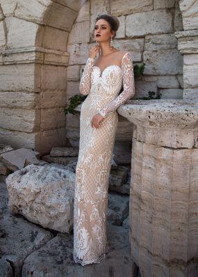 Прямое свадебное платье из кружева ZIT003
