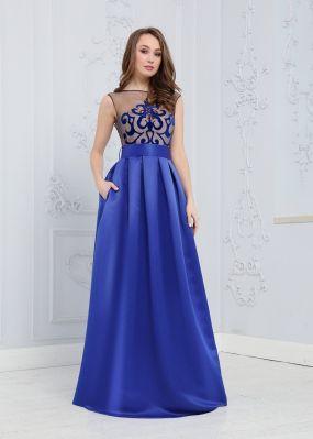 Длинное атласное платье ZEK001B