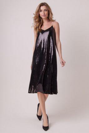Вечернее блестящее платье с открытыми плечами 161026