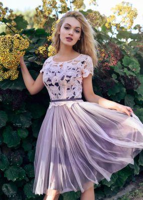 Короткое вечернее платье с фатиновой юбкой RB047B