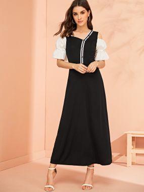 Контрастное асимметричное платье с пышными рукавами