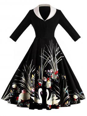50s платье клёш с принтом графическим и цветочным