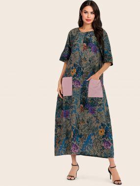 Длинное платье с цветочным принтом и карманом