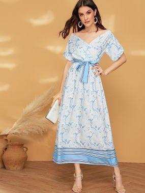 Полосатое длинное платье с цветочным принтом и поясом
