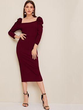 Облегающее платье-карандаш с пышными рукавами и разрезом
