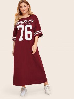 Платье с графическим принтом и заниженной линией плеч размера плюс