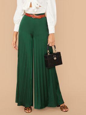 Широкие плиссированные брюки с высокой талией без пояса