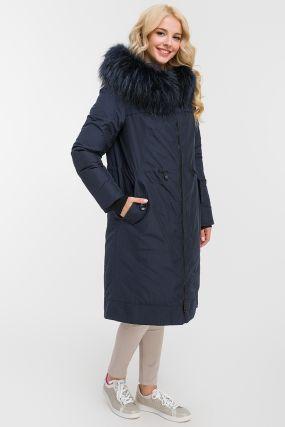 Длинное прямое пальто осень-зима с мехом енота