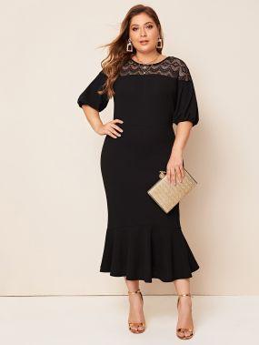 Платье-русалка размера плюс с кружевной вставкой