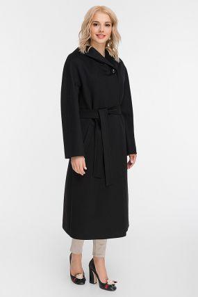 Длинное пальто из итальянской шерсти с капюшоном