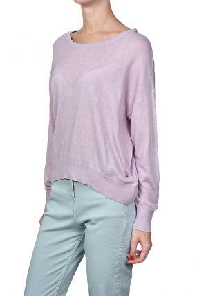 Розовый трикотажный пуловер