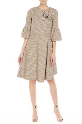 Комплект: свободная блуза, асимметричная юбка, брошь Adzhedo