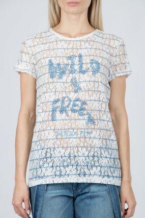 Гипюровая футболка с надписью