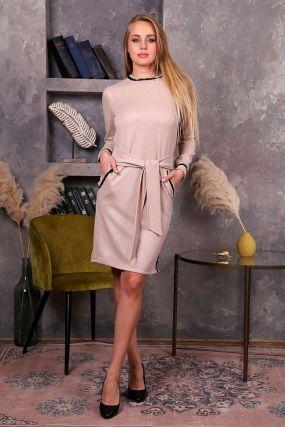Платье трикотажное Клоди (бежевое)