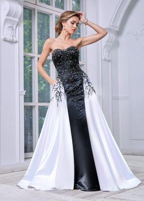 Длинное платье с пайетками, камнями и бисером MC082B