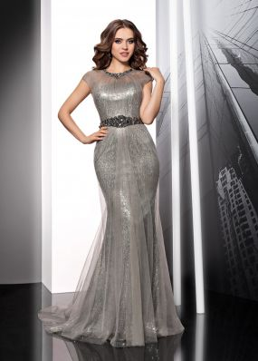 Серебристое вечернее платье в пол с пайетками MC070BXL